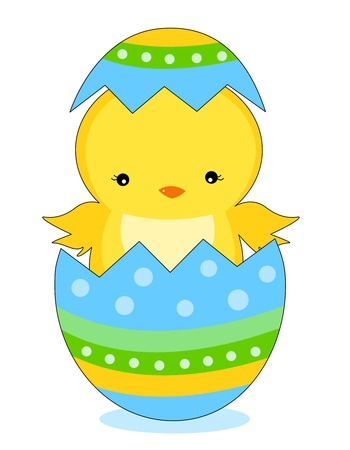 Cute little easter chick coming out from a colorful easter egg illustration isolated on white background