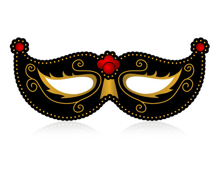 eye wear: Black and gold decorative mask isolated on white background