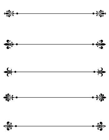 separator: Clip art collection of different decorative fleur de lis page dividers  border collection