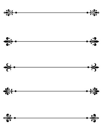 Clip art collection of different decorative fleur de lis page dividers  border collection