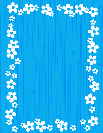 jasmin: Beautiful jasmin floral frame  background with white jasmines on blue striped background Illustration