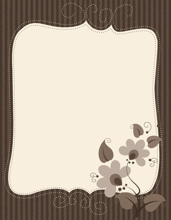notelet: Illustration of cream notepaper (invitation or thank you note) with feint brown striped borders and flowers and leaves in shades of brown in the right lower corner.