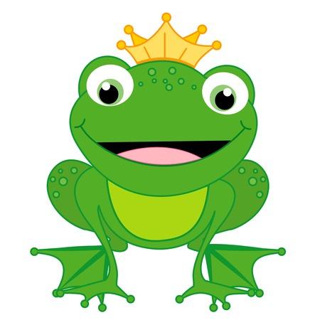rey caricatura: Ilustraci�n de un peque�o pr�ncipe rana feliz linda con una corona aislada en el fondo blanco. Personaje de cuento de hadas