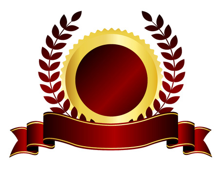 Gold and maroon  red color blank stamp  seal and ribbon banner Illustration