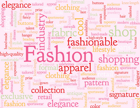 associated: Pink illustrated background with words associated with fashion.