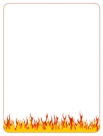 colourful fire: Burning fire frame  border on white