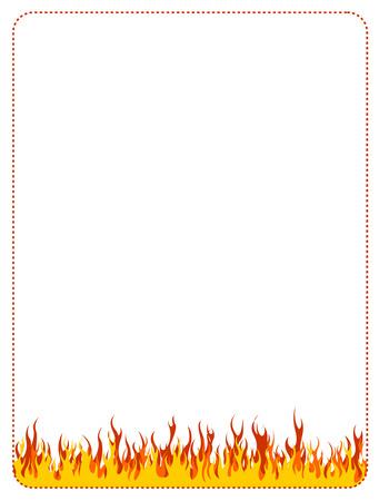 irradiate: Burning fire frame  border on white