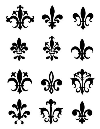 Collection of traditional black Fleur de Lis designs created in Adobe Illustrator. isolated on white background