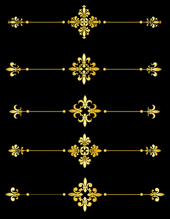 Clip art collection of different decorative gold fleur de lis page dividers  border collection Vector