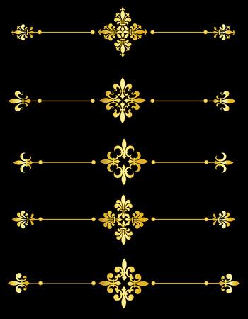 Clip art collection of different decorative gold fleur de lis page dividers  border collection Illustration