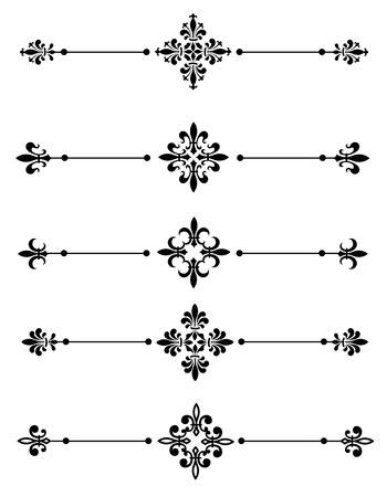 Clip art collection of different decorative fleur de lis page dividers / border collection Çizim