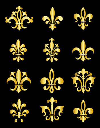 Collection of traditional gold Fleur de Lis designs created