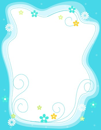 Cute floral border with different flowers and retro frame Vector Illustration