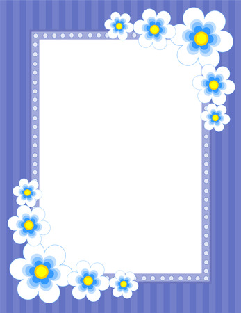 flowery: Colorful daisy frame with flowers on corners Illustration