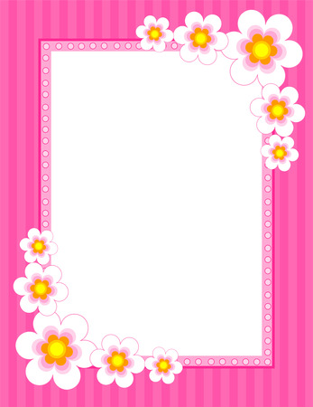 Colorful flower frame with spring flower collection on corners.