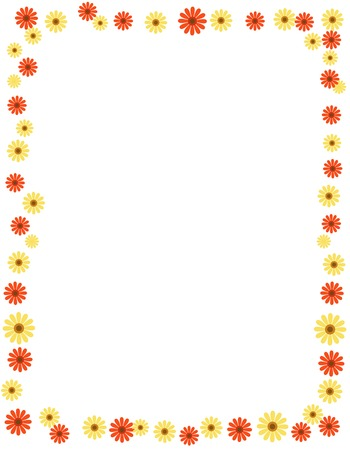 bright borders: Floral frame with colorful daisies and  empty space on center
