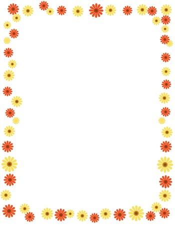 borde de flores: Marco floral de margaritas de colores y el espacio vac�o en el centro