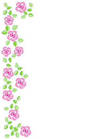 side border: Rose side border with beautiful pink roses. for Birthday , mothers day , bridal shower , wedding Invitations  greeting cards Illustration