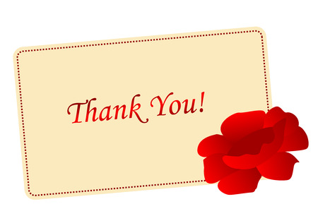Elegant thank you card  note with a beautiful red rose on corner illustration isolated on white Illustration