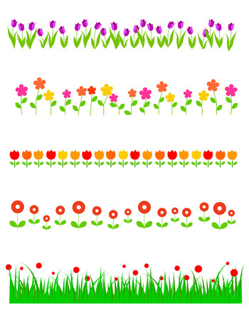 Colorful floral  spring divider colection with tulips and other beautiful spring flowers Illustration