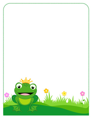 Cute frog with a golden crown border  frame on white background