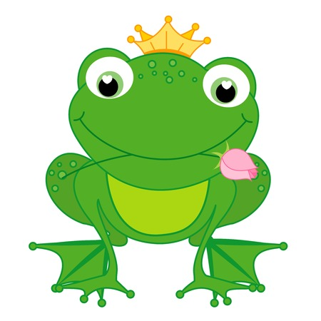 Illustration of a cute little happy frog prince with a crown and a rose in its mouth isolated on white background Vector