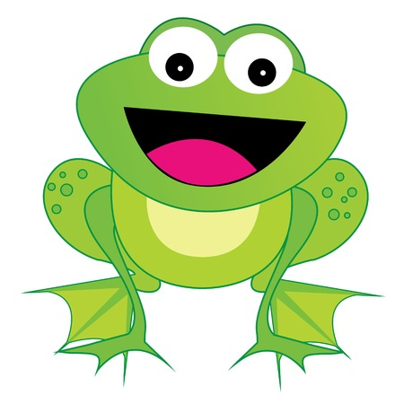 smiling frog: Cute happy laughing frog illustration isolated on white background Illustration