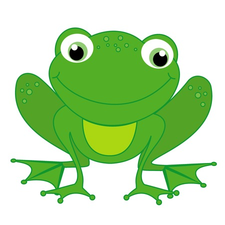 frog green: Illustration of a cute little happy frog isolated on white background