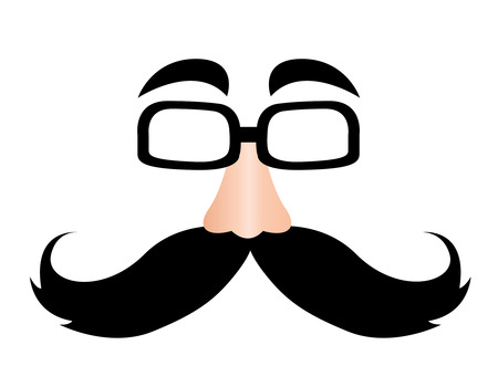 fake nose and glasses: Illustration of a printable funny mask isolated on white background