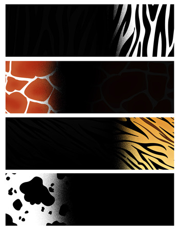web banner: Colorful web banner  header collection with different animal print backgrounds Stock Photo