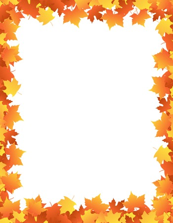 Colorful autumn leaves / Maple leaves falling background / border / frame illustration