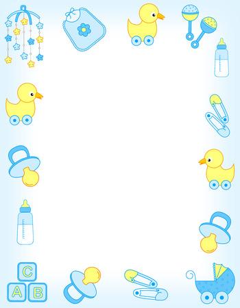pacifier: Ilustración de un anuncio de la tarjeta de invitación de la ducha del bebé  Frontera  marco o la llegada del bebé para un niño Foto de archivo