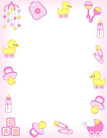 pacifier: Ilustración de un anuncio de la tarjeta de invitación de la ducha del bebé  Frontera  marco o la llegada del bebé para una niña Foto de archivo