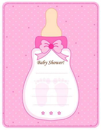 Cute feeding bottle shaped baby shower invitation card template cute feeding bottle shaped baby shower invitation card template in pink for baby girls stock photo filmwisefo