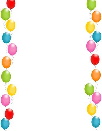 Globos de colores frontera ilustración / marco para las tarjetas de cumpleaños y fondos del partido