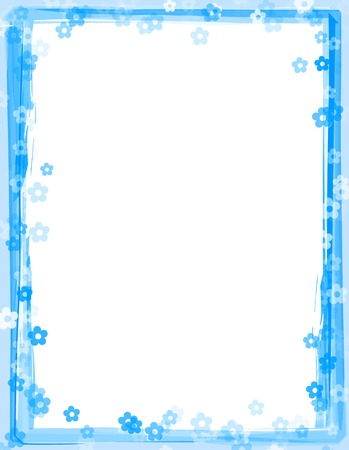 Blue color painted frame  border with randomly sprayed flowers