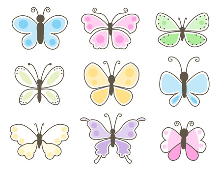lepidoptera: Set of pastel colored butterflies isolated on a white studio background. Stock Photo