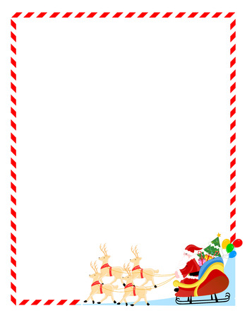 candy cane: Santa claus with his sledge and toys christmas frame  background Stock Photo
