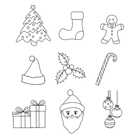 lineart: Christmas graphic lineart collection for kids coloring book  or worksheet