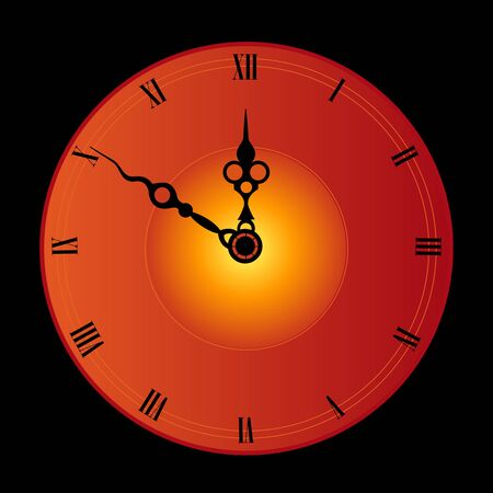 calibrate: Antique looking clock face isolated on black background illustration