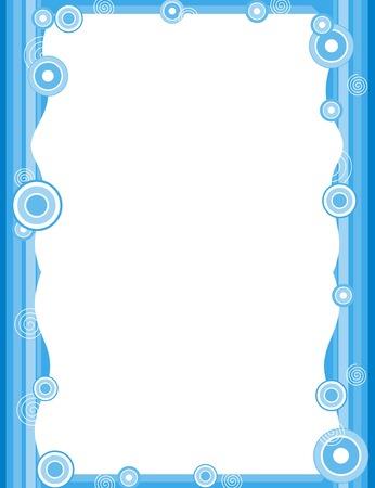 retro circles: Blue retro circles on striped background frame