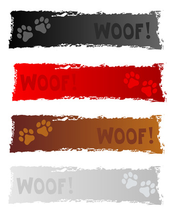 web banner: Grunge colorful dog themed web banner  header collection on white background