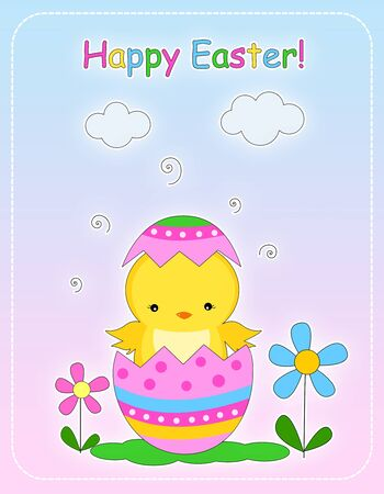 Happy easter greeting card with a chick and decorative easter egg illustration illustration