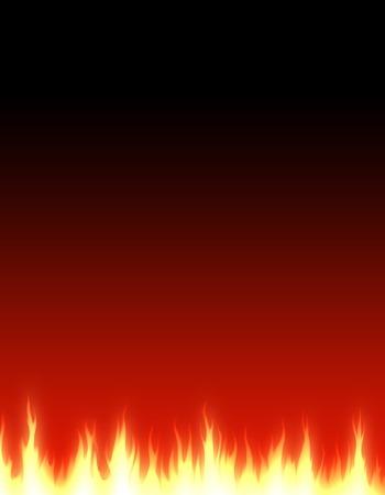 irradiate: Burning fire footer on dark background illustration Stock Photo