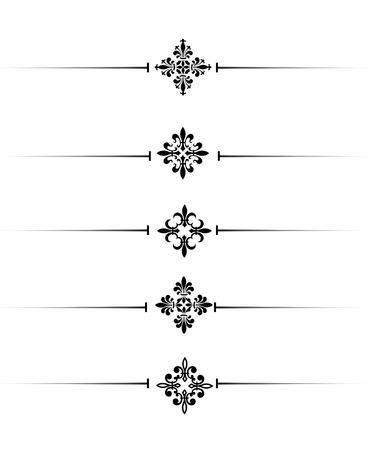 Clip art collection of different decorative black fleur de lis page dividers  border collection Stock Photo