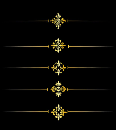lis: Clip art collection of different decorative gold fleur de lis page dividers  border collection Stock Photo