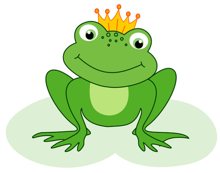Cute little frog prince happly  waiting for his princess illustration isolated on white background