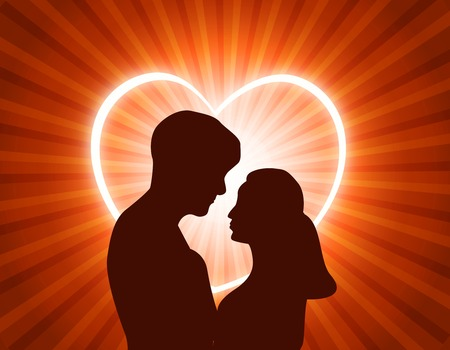 eye contact: Man and woman in love looking each other at glowing heart background