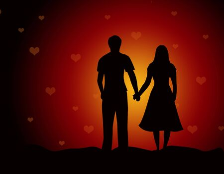gal: Young couple walking together holding hands on falling hearts background