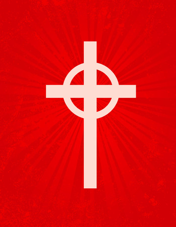 redemption: Illustration of a holy cross on glowing red grunge background